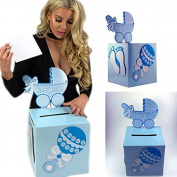 Adorox 3D blue Baby Shower Wishing Well Card Box Decoration Cute Pretty Keepsake Carriage Rattle