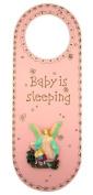 Baby is Sleeping 25cm Pink Girls Nursery Door Knob Hanger with Guardian Angel