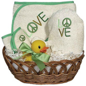 Raindrops Peace Love Organic Towel Baby Gift Set