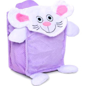 Kids or Girls Bath Toy Storage / Organzier Bag (Purple Mouse) with Mesh Sidepockets and Satin Lining