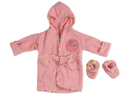 Little Beginnings Infant Plush Terry Bath Robe and Booties with Flowers Applique