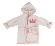 Little Beginnings Infant Plush Terry Bath Robe with Crown Applique