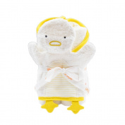 Giggle Hooded Striped Bath Towel and Mitt Set, Super Lemon