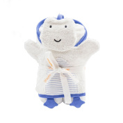 Giggle Hooded Striped Bath Towel and Mitt Set, Wedgewood