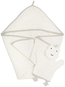 Giggle Hooded Striped Bath Towel and Mitt Set, High Rise