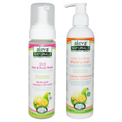 Aleva Naturals 2 in 1 Hair and Body Wash and Daily Soothing Moisturiser Bundle with Olive Oil, Shea Butter, Chamomile and Tea Tree Oils, Almond Oil and Oatmeal Extracts, 240ml each