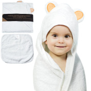 Organic Bamboo Hooded Baby Bath Towel By JoL's Home – Soft & Luxurious Infant Bathrobe, Hypoallergenic & Anti-Bacterial Fabric, Adorable Bear Ears, Absorbent & Large Toddler Towel – BONUS Washcloth