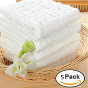 Baby Muslin Washcloths and Towels - Natural Organic Cotton Baby Wipes - Soft Newborn Baby White Towel and Muslin Washcloth for Kids- Baby Registry as Shower Gift, 5 Pack 25cm x 25cm By Mukin