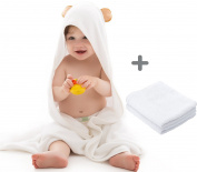 """Super Soft Organic Bamboo Hooded Baby Bath Towel with 2 Washcloths 