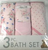Rene Rolfe Baby 3 Pc. Bath Set-3 Hooded Bath Set for Baby Girl Super Absorbent