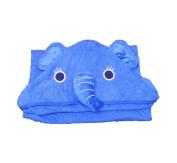 Hudz Kidz Elephant Hooded Towel- 100% Cotton- Blue- Soft & Absorbent