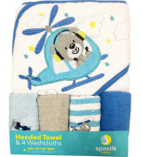 Spasilk 100% Cotton Hooded Terry Bath Towel with 4 Washcloths, Blue Helicopter