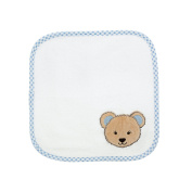 3 Piece Washcloth Towel Set | Certified 100% Organic Terry Cotton | Luxurious, Soft & Thick | White-Blue Coloured with Brown Bear Figure | Bella Colours