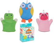 Baby Bath Gift Set with Elephant Seal Lion Ring Toss Bath Toy and 3 Frog Monkey Owl Wash Bath Mitts