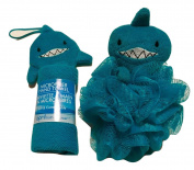 Microfiber Washcloth Friendly Shark, Friendly Shark Scrubbie; Bath Buddies For Kids; 2-pc