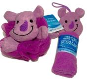Adorable Purple Rhino Novelty Wash Cloth and Sponge Scrubbie for Babies and Toddlers; Animal Friends Make Bathing Fun (Purple Rhino); 2-pc