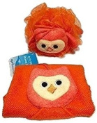 Adorable Owl Novelty Wash Cloth and Sponge Scrubbie for Babies and Toddlers; Animal Friends Make Bathing Fun (Owl); 2-pc
