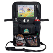 Backseat Car Organiser for Kids, Baby's & Toddlers by BabySeater. Tablet iPad DVD Holder, Wet Wipes Tissue Compartment Stretchy Storage Pockets. Kick Mat Seat Back Protector - MOTHERS DAY GIFT