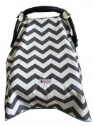 Carseat Canopy Cover by My Little Baby Bug | Noah pattern with Grey Chevron and Light Blue Minky dot