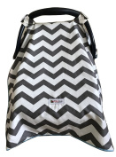 Carseat Canopy Cover by My Little Baby Bug   Noah pattern with Grey Chevron and Light Blue Minky dot