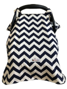 Carseat Canopy Cover by My Little Baby Bug   Wyatt pattern with Navy Blue Chevron and Navy Blue Minky dot