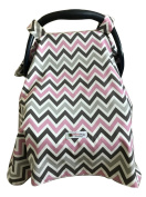 Carseat Canopy Cover by My Little Baby Bug   Lily pattern with Pink & Grey Chevron and Light Grey Minky dot