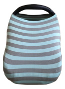 Carseat Canopy Cover by My Little Baby Bug | Jamie Pattern with Grey & Light Blue Striped Jersey Fabric | Stretchy|Multi-use Carseat Cover, Nursing Breastfeeding Cover, Shopping Cart Cover