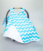 Car Seat Cover Canopy, BABY,PREMIUM,NEWBORN,Baby Blue Chevron (Gender Nuetral) Buy the Best,Great Baby Shower Gift Canopy Car Seat Cover!