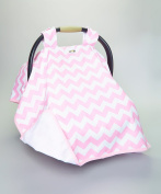 BABY CAR SEAT COVER CANOPY,PINK BABY GIRL CHEVRON ,(BEST SELLER)PROUDLY MADE IN THE USA BY ROCKINGHAM ROAD