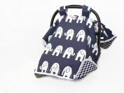 CAR SEAT COVER CANOPY,BABY NAVY ELEPHANTS (GENDER NEUTRAL) BUY THE BEST-BY ROCKINGHAM ROAD,PROUDLY MADE IN THE USA