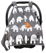 Dear Baby Gear Deluxe Car Seat Canopy, Custom Minky Print White Elephants, Grey Minky Dot