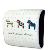 Snow Courage Memory Foam Lumbar Support Back Pillow Office Chair and Car Seat Cushion - Cute Cartoon Horses