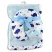 Baby Boy Blanket and Neck Support Pillow Coordinating Set In Blue~Baby Shower Gift~Newborn