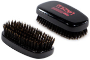 Torino Pro #120 Boar Bristle Palm Medium Hair Brush - Easy 360 Waves - Handheld Military Squared Design - Naturally Moisturise, Condition, Reduce Frizz,Strengthen, Promote Circulation of Hair Roots