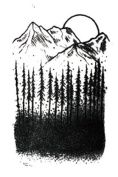 Set of 2 Waterproof Temporary Fake Tattoo Stickers Cool Black Grey Forest Mountain Unique