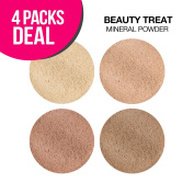 BEAUTY TREATS Mineral Powder Foundation 10ml with Brush and Mirror (4, All 4