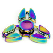 Lux Accessories Rainbow Trendy Kids Adult Toy Tri Fidget Spinner Hand Spinner