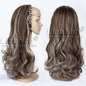 Fashion Brown Wig Fall with Blonde Highlights Half Head Wig 3/4 Weave Natural Layered Wig Hairpiece