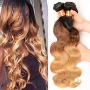 XCCOCO Hair Ombre Body Wave Bundles Brazilian Three Tone Ombre Colour 1b/4/27 Body Wave 4 Bundles 400g Grade 8A Virgin Remy Human Hair black to Blone Human Hair Extensions