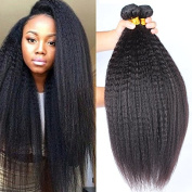 Rosette Hair Kinky Straight Hair Wave Hair Extension/Weft, 100% Brazilian Virgin Remy Human Hair with Unprocessed Natural Black Colour, Size 30cm - 60cm