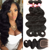B & P Hair Brazilian Hair 3 Bundles Body Wave with Three Part Closure 7A Unprocessed Virgin Human Hair Weave Natural Colour 95-100g/pc