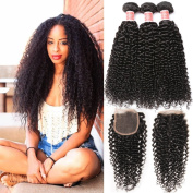 Pizazz Brazilian Curly Hair Weave 3 Bundles With Closure Free Part Kinky Curly Human Hair With Closure