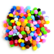 BoNaYuanDa Pompoms for Craft Making and Hobby Supplies 2.5cm , 200 Pieces, Assorted Colours