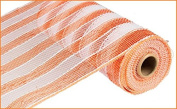 25cm x 9.1m Deco Poly Mesh Ribbon - Orange and White Striped Mesh