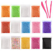 Kuuqa Micro Polystyrene Styrofoam Beads Small Foam Balls Slime Beads Set with 3 Slime Tools Fit for Slime Making Art DIY Craft, 0.08-0.4cm Approx 50000 Balls in total