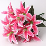 HFDA 2 piece Artificial Flowers Lily Home Kitchen Dining Table Centrepieces Decorations and Wedding Ceremony
