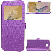 Galaxy J5 Prime Case, Galaxy On5 2016 Case,ARSUE Window View Ultra Slim Luxury PU Leather Wallet Flip Protective Case Cover with Card Slots and Kickstand for Samsung Galaxy J5 Prime - Purple