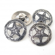 Set Of Four 3.2cm Antique Silver Engraved Star Concho