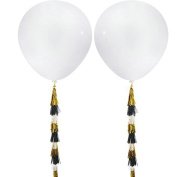 Sopeace 2pcs 90cm Giant White Balloons + 15 Paper Tassel Garland for Birthday/Party/Wedding/Baby Shower Decorations, Event & Party Supplies
