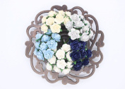 100 Pcs Mini Rose Mix Soft Blue Shade 10 mm Mulberry Paper Flowers Scrapbooking Wedding Decoration
